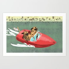 Two Pugs in a Speed Boat Art Print