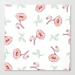 seamless pattern of beautiful poppy flowers and green twigs Canvas Print