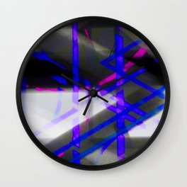 Electric Blue Pink Zig Zag Abstract Wall Clock