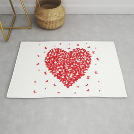 Heart - summer card design, red butterfly on white background Rug