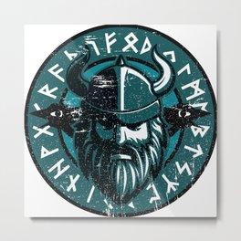 Viking Odin with Hugin and Munin Metal Print