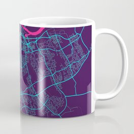 Stockton - On - Tees Neon City Map, Stockton - On - Tees Minimalist City Map Art Print Coffee Mug