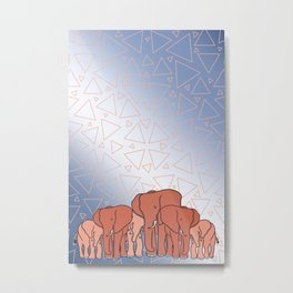Elephant Herd Metal Print