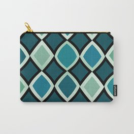 Midcentury Warped Diamonds Teal Carry-All Pouch