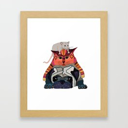 mouse cat pug white Framed Art Print