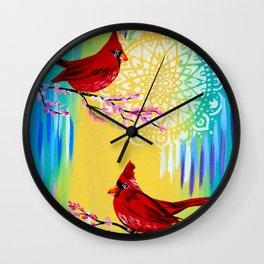 Red Cardinals Wall Clock