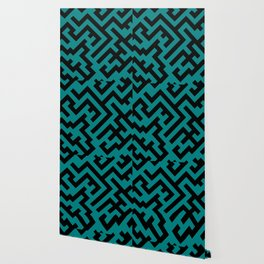 Black and Teal Green Diagonal Labyrinth Wallpaper