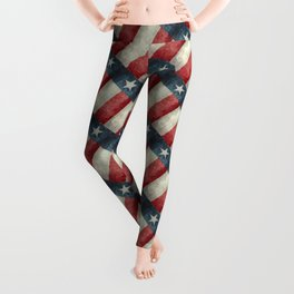 Texas flag, Retro style Vertical Banner Leggings