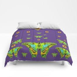 YELLOW SUNFLOWERS, GREEN MOTHS ON PURPLE Comforters
