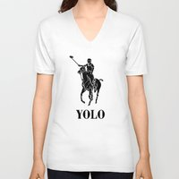 yolo V-neck T-shirts featuring YOLO by Farfalle