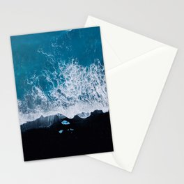 Abstract and minimalist black sand beach in Iceland with chunks of Ice and waves - moody Landscapes Stationery Cards