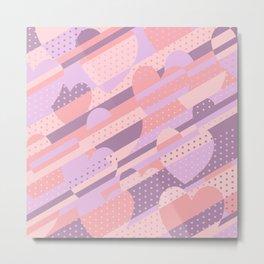 Sweet Heart Pattern (Pastel Coral Pink, Lavender) Metal Print