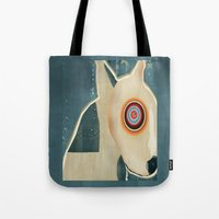 bull terrier Tote Bags featuring bull terrier days by bri.buckley