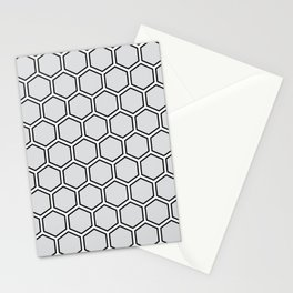 Light gray, white and black hexagonal pattern Stationery Cards