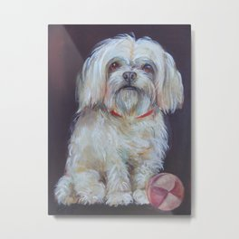 BICHON Cute white dog portrait Oil painting Pet portrait Metal Print
