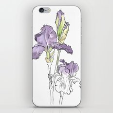 Violet iris - Botanical sketch / Flower illustration iPhone & iPod Skin