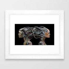 Brain connected cyborgs. External view Framed Art Print