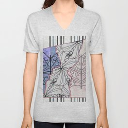 Double Face Silhouette - Soft Colors  Unisex V-Neck