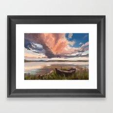 Sunrise over the lake Framed Art Print