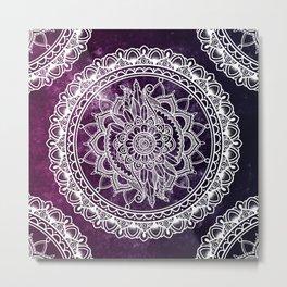 Violet Flower Mandala Metal Print