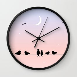 pink blue sunset with birds on wire Wall Clock
