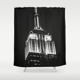 Dramatic Empire State Building in New York City at night Shower Curtain