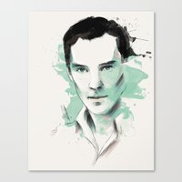 cumberbatch Canvas Prints featuring Benedict Cumberbatch by charlotvanh