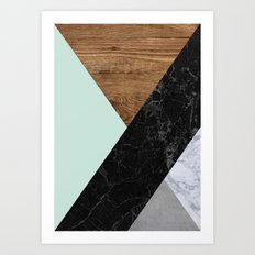 Mint Marble Wood Art Print