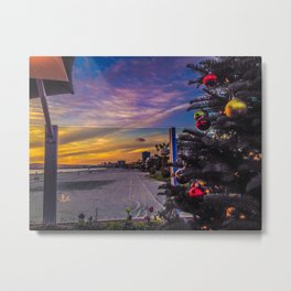 Belmont Shores Christmas Sunset Metal Print