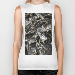 Black White Agate Black Gold Geometric Triangles Biker Tank