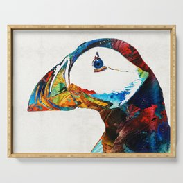 Colorful Puffin Art By Sharon Cummings Serving Tray