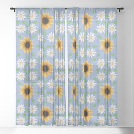 Flower Mandala - Serenity Blue Sheer Curtain