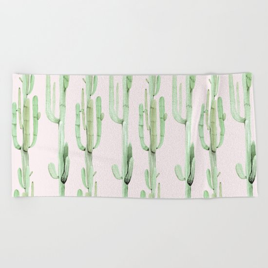 Green and Coral Pink Cactus Stack Pattern Beach Towel