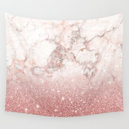 Elegant Faux Rose Gold Glitter White Marble Ombre Wall Tapestry