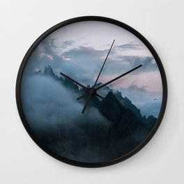 Dolomite Mountains Sunset covered in Clouds - Landscape Photography Wall Clock
