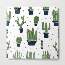 Cactus Plants Pattern- Green Metal Print