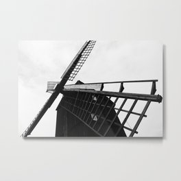 Wind Mill Architecture Black and White Photograph Metal Print