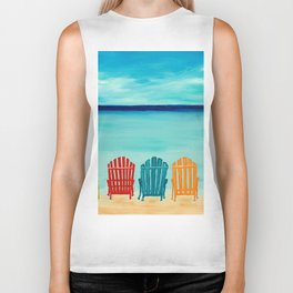 A Day At The Beach Biker Tank