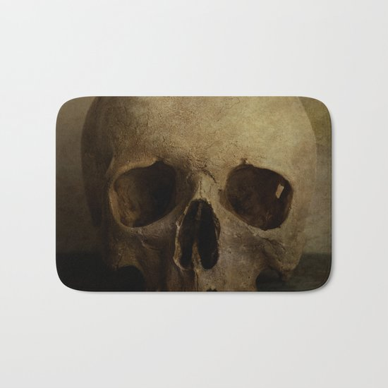 Male skull in retro style Bath Mat