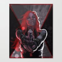 black widow Canvas Prints featuring Widow by rnlaing