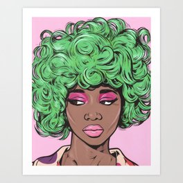Green Kawaii Black Comic Girl Art Print
