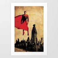 justice league Art Prints featuring Superman justice league by Edmond Lim