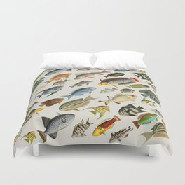 vintage fish swim on bone Duvet Cover
