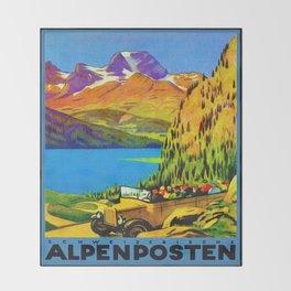 Vintage Switzerland Alpine Coach Travel Throw Blanket