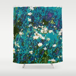 Daisies smothered in Teal Shower Curtain
