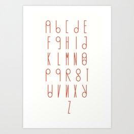 Unique Swees font alphabet Art Print