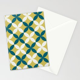 Off White, Dark Yellow and Tropical Dark Teal Inspired by Sherwin Williams 2020 Trending Color Oceanside SW6496 4 Leaf Minimal Flower Petal Pattern 2 Stationery Cards