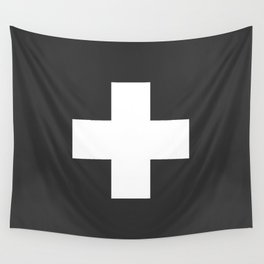 Swiss Cross Charcoal Wall Tapestry