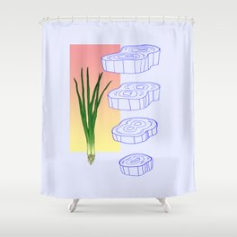 scallion cross section graphic Shower Curtain