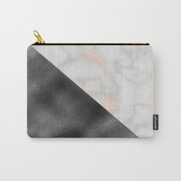 Rose gold marble and gunmetal grey storm Carry-All Pouch